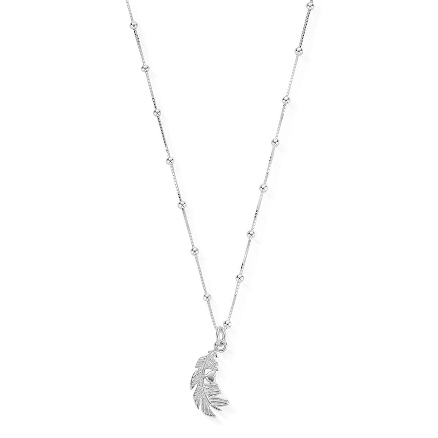 ChloBo Silver Chain Heart in Feather Necklace SNBB596