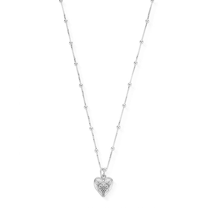 ChloBo Silver Bobble Chain Heart Necklace SNBB691