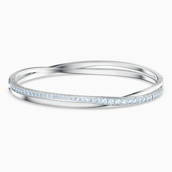 Swarovski Twist Rows Bangle, Blue, Rhodium Plated, Small, 5584652