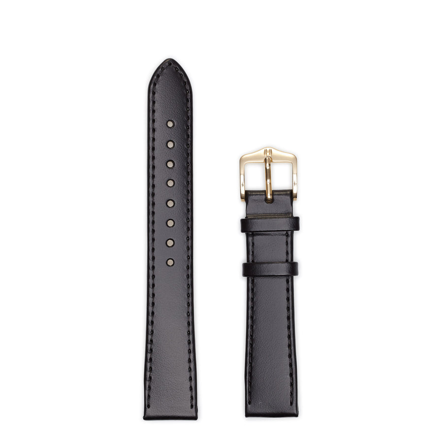 Hirsch Medium Umbria Black Leather Watch Strap 13700250