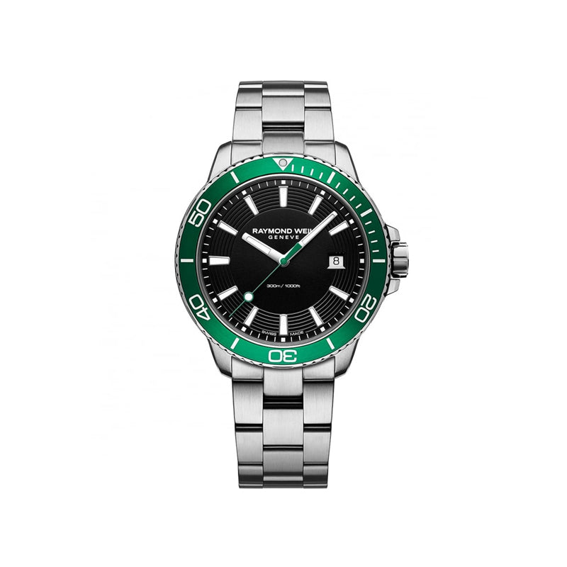 Raymond Weil Gents Black Dial Tango Green Divers Watch 8260-ST7-20001