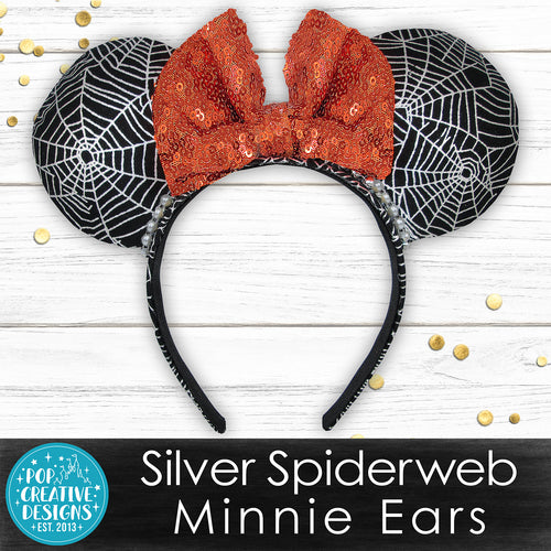 Silver Spiderweb Minnie Ears