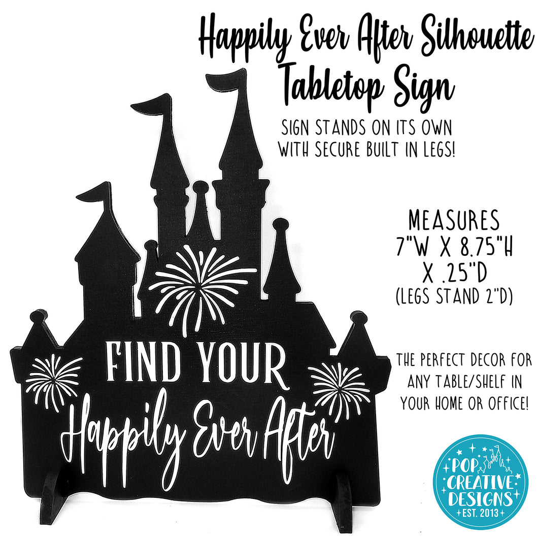 Happily Ever After Silhouette Tabletop Sign