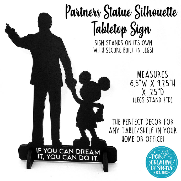 Partners Statue Silhouette Tabletop Sign