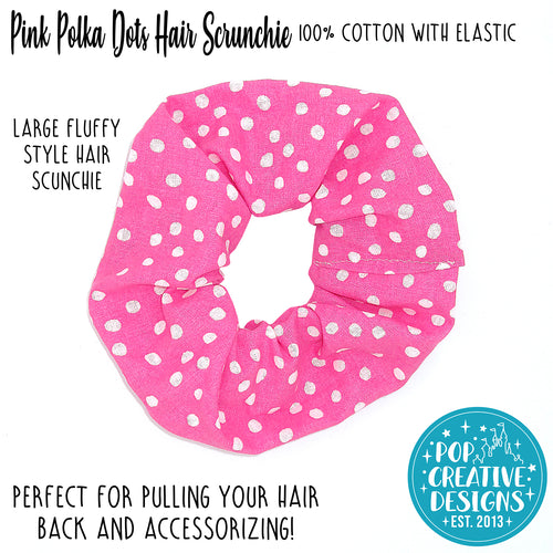 Pink Polka Dots Hair Scrunchie