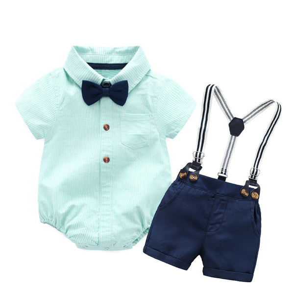 Baby Boy Clothes Romper + Bow + Navy Shorts + Suspenders Belt First Birthday Outfit Boy