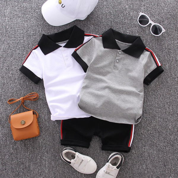 Baby Boy Clothes Trendy Summer Casual Cotton Kid Turn-down Top + Black Shorts Costume For Kids