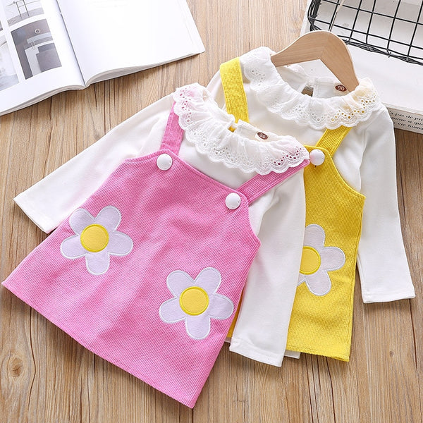 Baby Suit Set Flower Sling Dress Baby Girl Coming Home Outfit