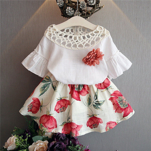 Toddler Kids Baby Girl Floral White Blouse + Floral Skirts Summer Short Sleeve 2PCS Cheap Kids Clothes 2-7 Years