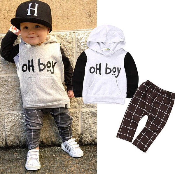 2pcs Toddler Kids Baby Boy Clothes Set Hoodies Tops Casual Pants Plaid Baby Boy Outfits