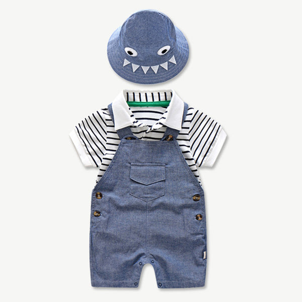 Baby Boy Coming Home Outfit Sets For Boys Summer Suit Set Hat+Striped Romper+Blue Overall Suit Casual Children Baby Boy Clothes