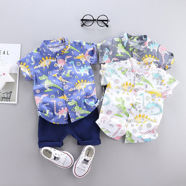 Baby Boy Clothes Trendy New Summer Dinosaur Printed Shirt + Solid Shorts 2 PCS Costume For Kids
