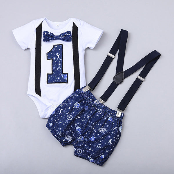 Baby Boy Clothes One Year Birthday Baby Outfits Baby Boys Gentleman Space Print First Birthday Outfit Boy