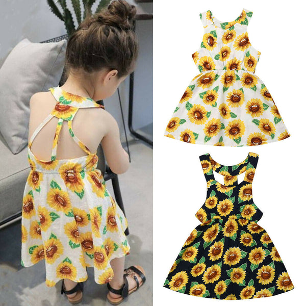 Birthday Outfits For Girls Sunflower Sleeveless Dress Casual Princess Dress For Kids