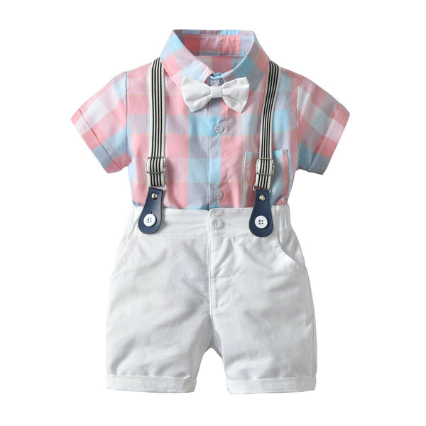 First Birthday Outfit Boy Set Shirt+Bib Pants+Bow Tie Baby Boy Coming Home Outfit HT12