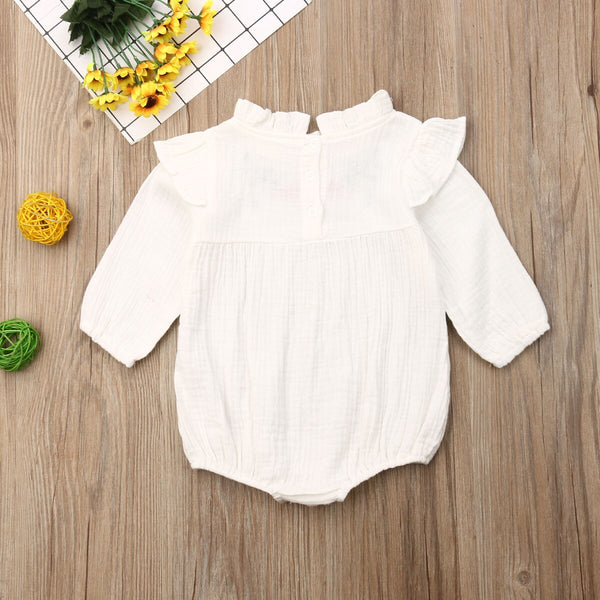 Baby Girl Rompers Long Sleeve Jumpsuit Embroidery Floral Playsuit Autumn Baby Girl Costumes Vintage Clothes