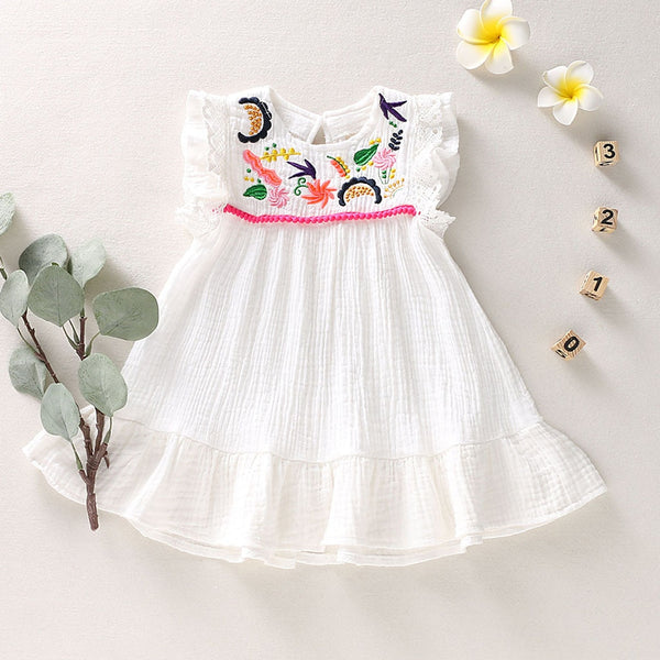 Costume For Kids Clothes Summer Toddler Baby Infant Girl Flower Embroidery Dress Sleeveless First Birthday Dress