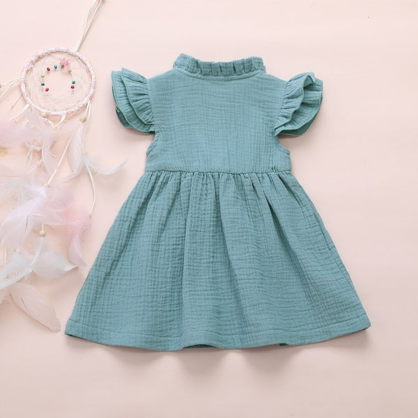 Baby Girl Dresses Long Sleeve Ruffles Bow Soft First Birthday Outfit