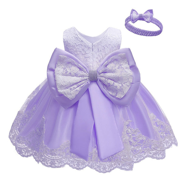 Baptism Dresses Lace Flower First Birthday Outfit