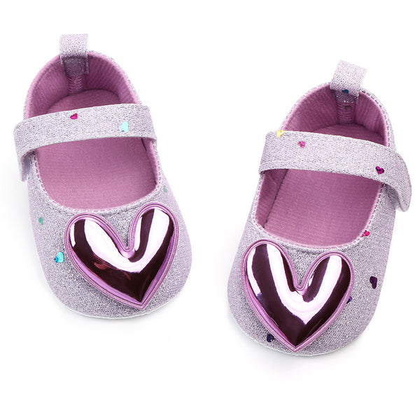 Baby First Walking Shoes Autumn Infant Girls Indoor Soft-Soled Heart-Shaped Princess Shoes Baby Walking Shoes