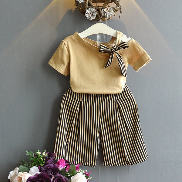 Baby Girl Coming Home Outfit Set Shirt+Long Stripe Pants First Birthday Outfit Girl HT012
