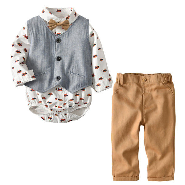 Baby Boy Clothes Gentleman Rompers + Vest + Pants Spring Fashion 1st Birthday Outfit Boy