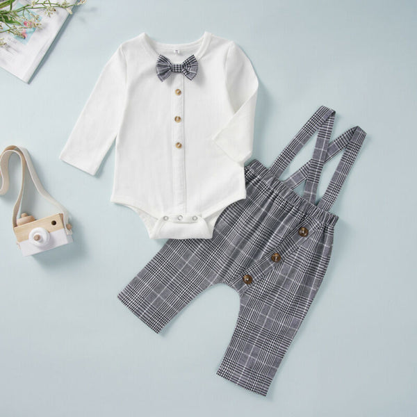 Baby Boy Outfits Set Long Sleeve Bow Romper + Plaid Bib Pants Overalls 1st Birthday Outfit Boy