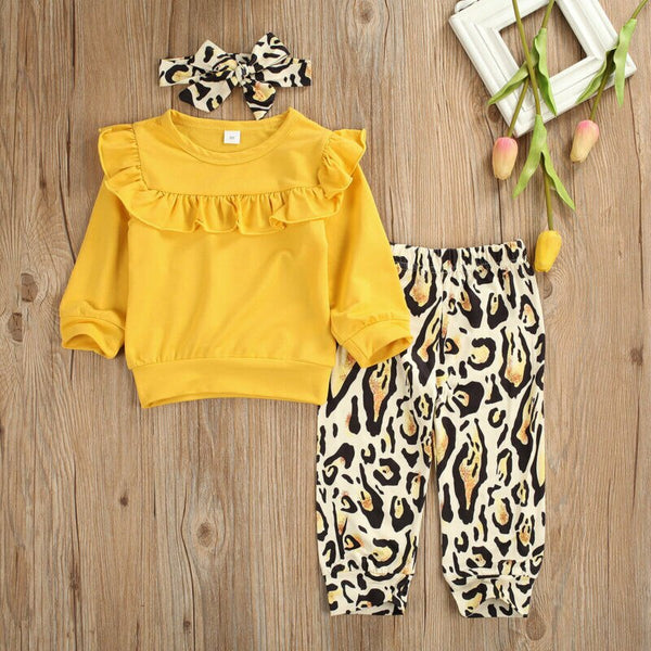 Baby Girl Coming Home Outfit Set Autumn Ruffle Long Sleeve Tops Leopard Pants Headband Baby Girl First Birthday Outfit