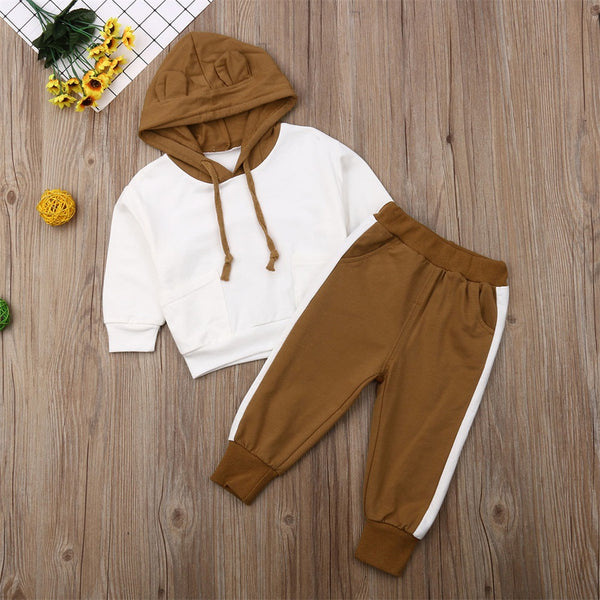 Baby Boy Suit Set Long Sleeve Hooded Tops + Pants Outfits Tracksuit Autumn Winter Boys Costumes