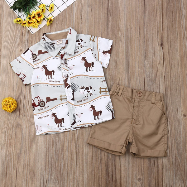 First Birthday Outfit Boy Set Summer Cartoon Animal Short Sleeve Shirt + Shorts Baby Boy Coming Home Outfit