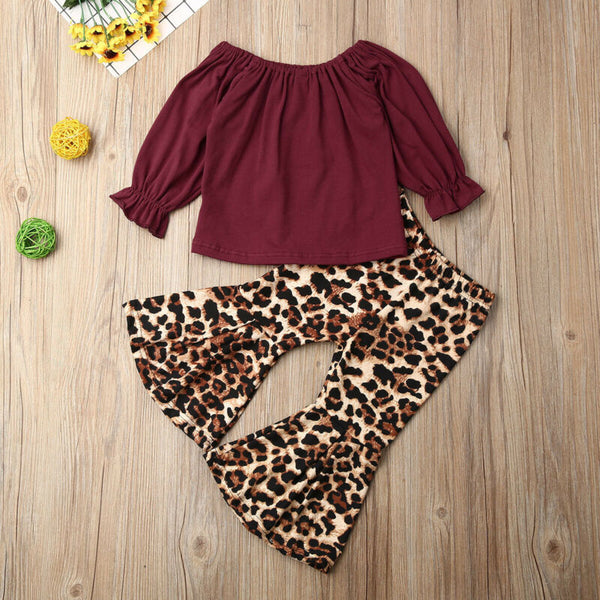 Baby Girl Clothing Set Long Sleeve Ruffles Tops T-shirt+Leopard Flared Pants Outfit Autumn Spring Set Cheap Kids Clothes 1-6Years