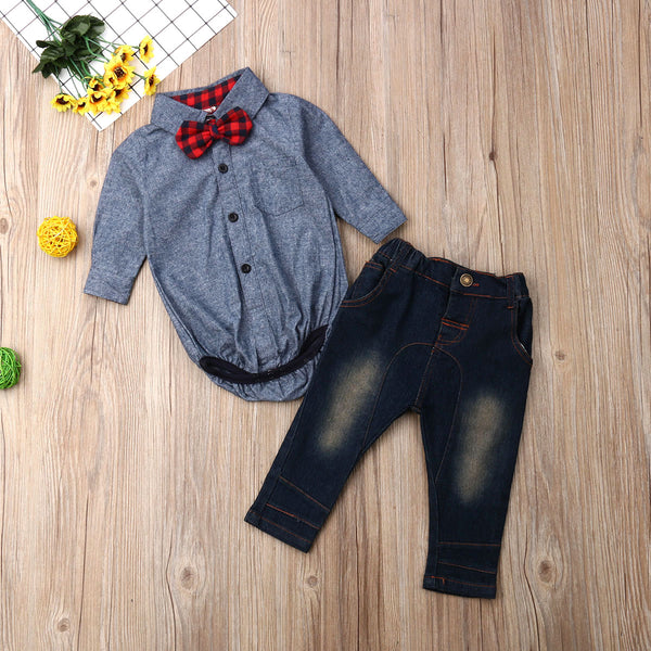 Baby Boy Outfits Set Long Sleeve Baby Rompers + Denim Pants 1st Birthday Outfit Boy