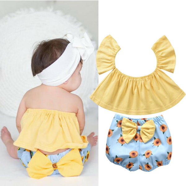 Baby Girl Coming Home Outfit Set Summer Off Shoulder T-shirts Bowknot Bloomer Shorts Sunflower Baby Girl First Birthday Outfit