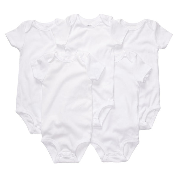 Baby Girl Rompers Plain White Short Sleeve Cotton Plus Size Rompers
