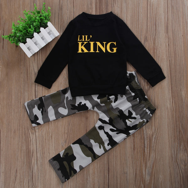 First Birthday Outfit Boy New Winter Autumn Black Long Sleeve T-shirt + Camouflage Pants Baby Boy Coming Home Outfit