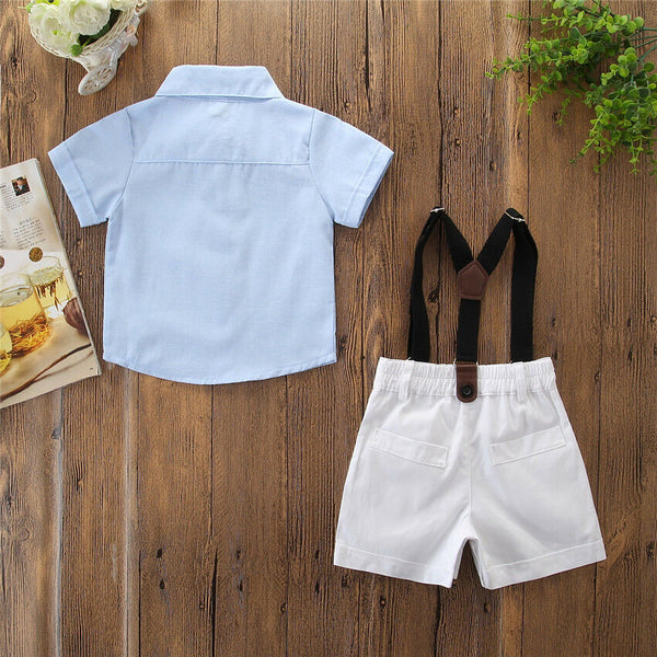 First Birthday Outfit Boy Set Shirt+Bib Pants+Bow Tie Baby Boy Coming Home Outfit