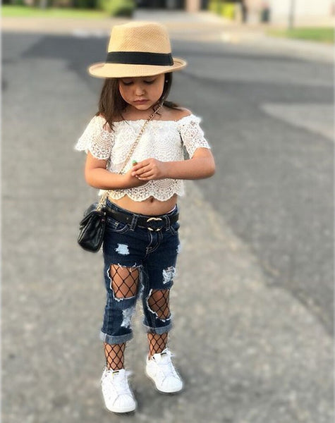 Baby Girl Fall Outfits Set White Lace Shirt Tops + Mesh Denim Pants Baby Girl Clothes