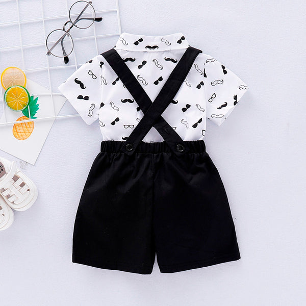 2020 Cute Baby Boy Clothes Gentleman Beard Short-Sleeve Romper+Shorts Suspenders Strap Set First Birthday Outfit Boy
