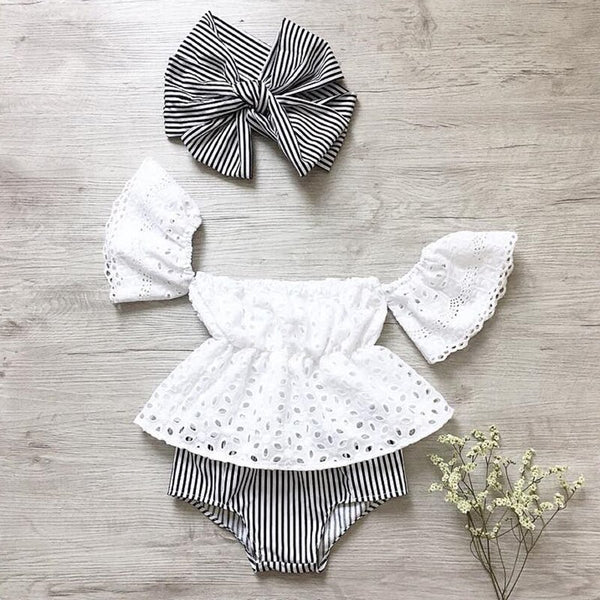 First Birthday Outfit Girl 3pcs Set Lace Hollow Out Short Sleeve Top +Stripe Shorts +Headband Baby Coming Home Outfit