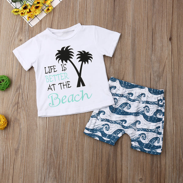 Baby Boys Clothing Set Summer Casual Beach Outfits Vest Tops + Shorts