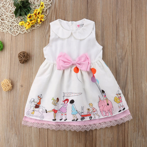 First Birthday Outfit Sleeveless Lace Bowknot Party Pageant Dress Summer Cartoon Princess Dress For Kids