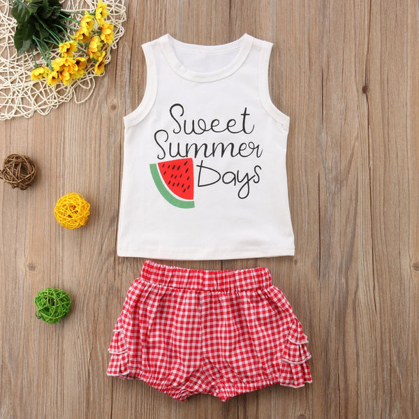 Baby Girl Coming Home Outfit Set Vest TOP+Plaid Shorts Funny Baby Clothes
