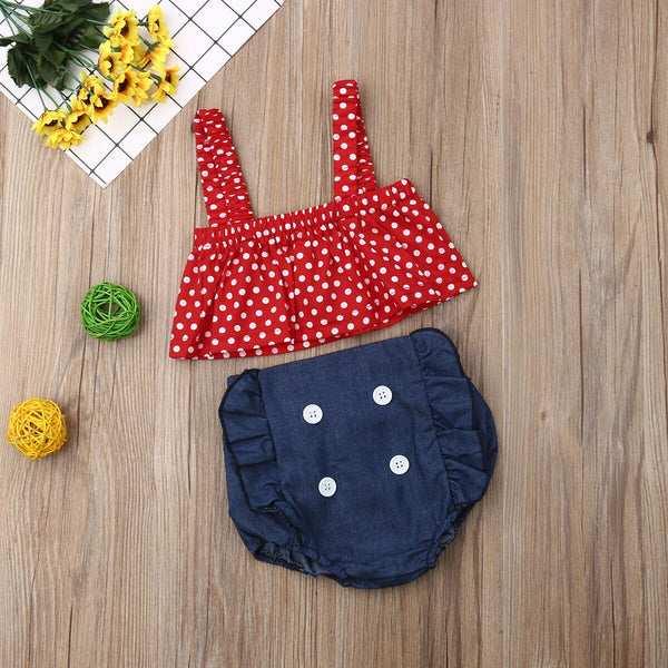 Baby Girl Coming Home Outfit Set Red Dot Vest T shirts + Ruffles Bloomer Shorts Baby Girl First Birthday Outfit