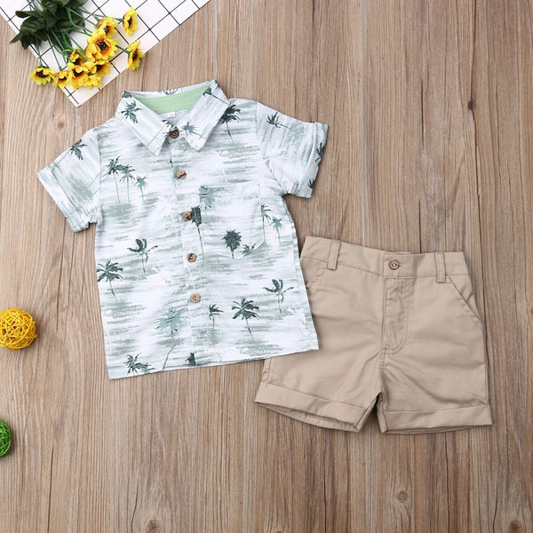 Birthday Boy Outfit Set Short Sleeve Shirt Tops+Short Baby Boy Coming Home Outfit