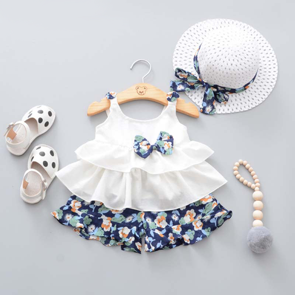 Cute Outfits For Girls Strap Bow Vest + Floral Shorts + Fashion Hat 3Pcs Set