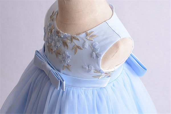Baby Christening Gowns Infant Baby Baptism Dress 1st Birthday Girl Party Blue/Pink Flower