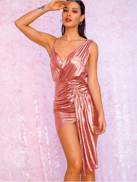 Party Dress Sexy V-Neck Pink Pleated Ribbon Splicing Bodycon Reflective