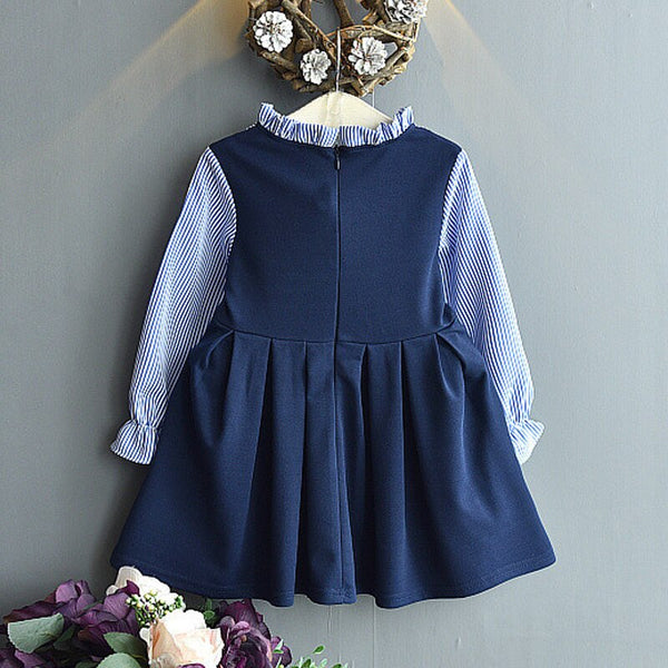 Baby Girl Dresses Spring New Striped Bow Long Sleeves Blue Princess Costumes