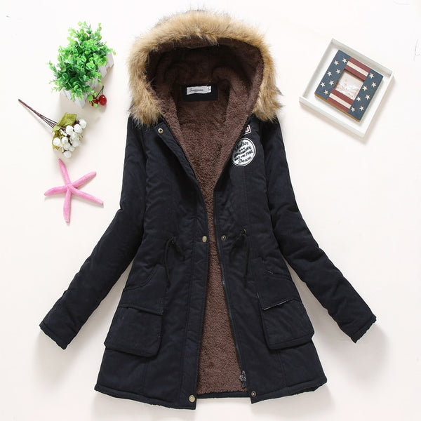 Women Winter Warm Coat Female Autumn Hooded Cotton Fur Plus Size Basic Jacket Outerwear Slim Long Pink Ladies Jacket