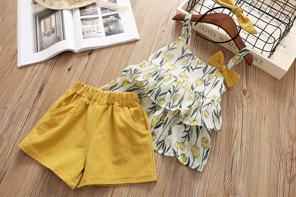Baby Suit Set Layered Chiffon Flower Printed Sling Bow Tops and Shorts Two-piece Baby Girl Coming Home Outfit